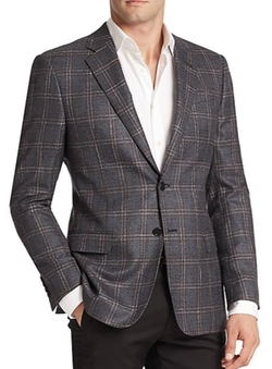Armani Collezioni  - Windowpane Silk & Wool Blazer