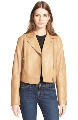 T By Alexander Wang - Pebbled Leather Moto Jacket