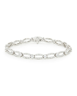 NM Diamond - White Gold Diamond Oval-Link Bracelet