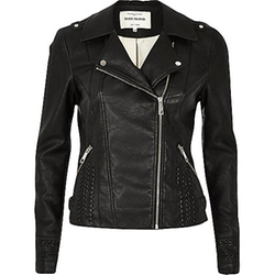 River Island - Leather-Look Whipstitch Biker Jacket