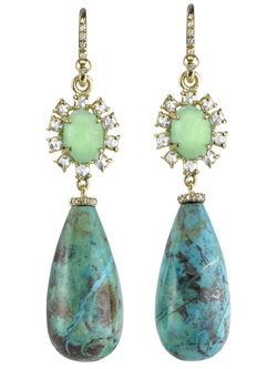 Irene Neuwirth  - Turquoise and Diamond Drop Earrings