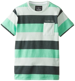 Calvin Klein - Boys Printed-Stripe Crew Tee Shirt