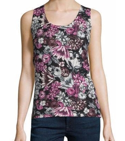 Neiman Marcus Cashmere Collection  - Superfine Floral Cashmere Tank Top