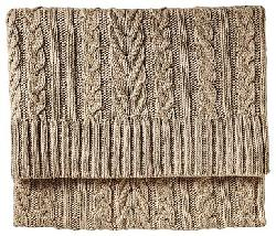 houzz - Telluride Cable-knit Throw, Camel