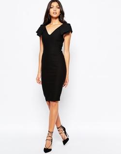 Vesper - Plunge Front Midi Dress