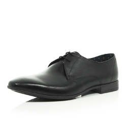 River Island - Black Leather Square Toe Formal Shoes