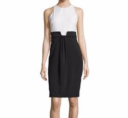 Badgley Mischka  - Sleeveless Draped-Front Colorblock Dress