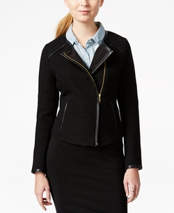 Maison Jules  - Faux-Leather-Detail Moto Jacket