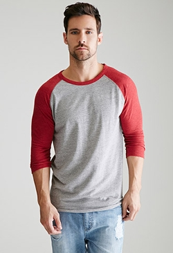 Forever 21 - Heathered Colorblock Baseball Tee