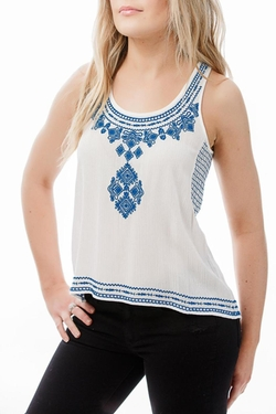 THML Clothing - Embroidered White Top