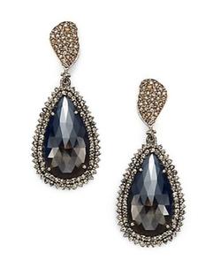 Bavna  - Diamond & Sterling Silver Teardrop Earrings