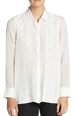 Robert Graham  - Leila Silk Mixed-Lace Blouse