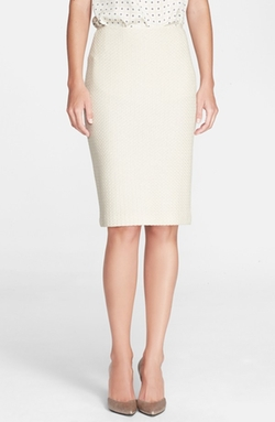 St. John - Vertical Mini Loop Knit Pencil Skirt