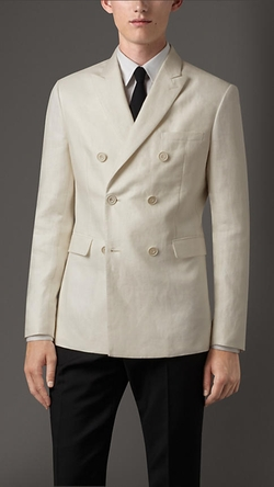 Burberry - Slim Fit Double-Breasted Linen Jacket