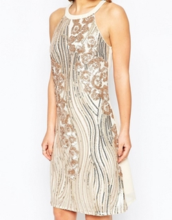 Little Mistress  - Sequin Embellished Halter Shift Dress
