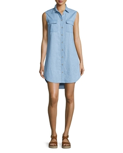 Equipment  - Slim Signature Sleeveless Shirtdress