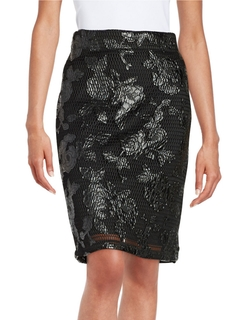 Design Lab Lord & Taylor - Floral Mesh Pencil Skirt