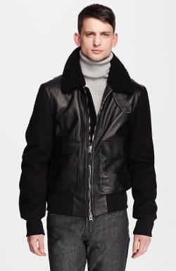 AMI Alexandre Mattiussi - Genuine Shearling Collar Leather Jacket with Wool Sleeves