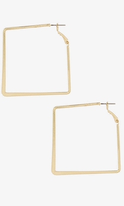 Express - Textured Square Hoop Earrings