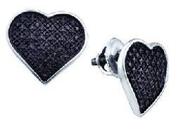 Wholesale Findings Jewelry - Sterling Silver & Black Diamond Cluster Heart Stud Earrings