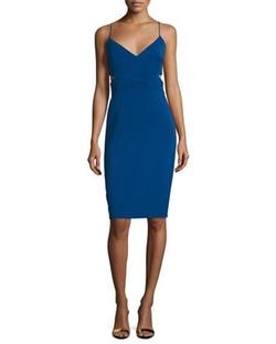 Badgley Mischka - Sleeveless V-Neck Cutout Sheath Dress