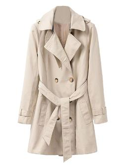 Choies - Beige Lapel Double Breasted Longline Trench Coat With Belt