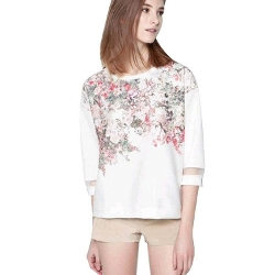 Towallmark - Floral Chiffon T-Shirt Lady
