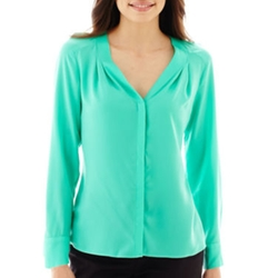 Worthington - Long-Sleeve V-Neck Blouse