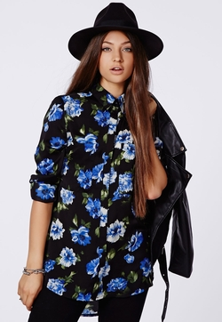 Missguided - Soraya Floral Boyfriend Shirt