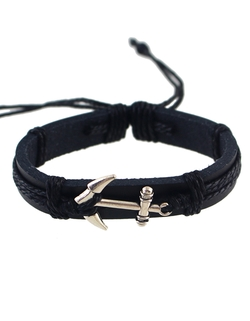 Romwe - Silver Black Adjustable Anchor Wrap Leather Bracelet