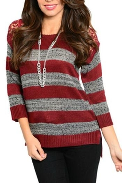 Please N Thank You - Burgundy Grey Sweater