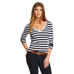 Merona - Striped Ultimate Vee Tee