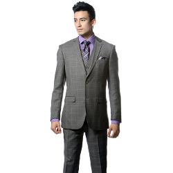 Zonettie by Ferrecci  - Premium 3 Piece Slim Fit Charcoal Grey Plaid Vested Suit