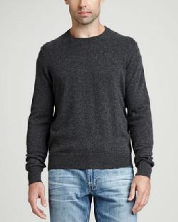Neiman Marcus  - Cashmere Crewneck Elbow-Patch Sweater, Gray