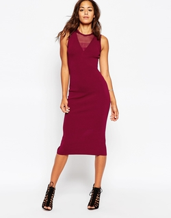 Asos - Dress In Knit With Sheer Back Detail