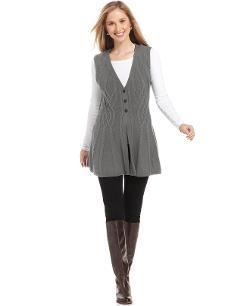 Style&co.  - Cable-Knit Button-Front Vest