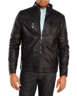 Brave Soul  - Black Faux Leather Motorcycle Jacket