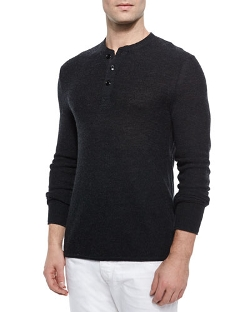 Rag & Bone	  - Griffin Slub-Knit Henley