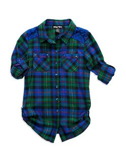 Planet Gold  - Girls Plaid Button Down Shirt