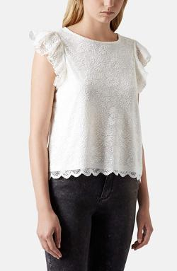 Topshop  - Lace Overlay Scalloped Tee