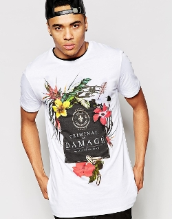 Criminal Damage  - T-Shirt with Floral Print
