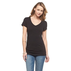Cherokee - Short Sleeve Side Shirred V-Neck Tee