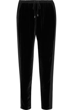 Rebecca Minkoff  - Malone Silk Crepe Paneled Velvet Tapered Pants