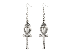 Gypsy Soule - Heart & Cross Drop Earrings