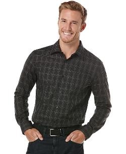 Perry Ellis  - Big and Tall Sateen Windowpane Plaid Shirt