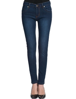 Camii Mia - Slim Fit Flannel Lined Jeans Pants