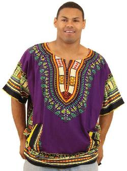 African Inspired Fashions - King-Sized Traditional Print Unisex Dashiki Top