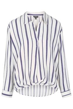 Topshop - Striped Drape Front Blouse