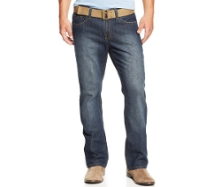 Royal Premium - Denim Belted Straight-Leg Jeans