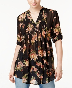 American Rag  - Pintucked Floral-Print Blouse